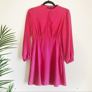 Zara mini Fuchsia dress with billow sleeves